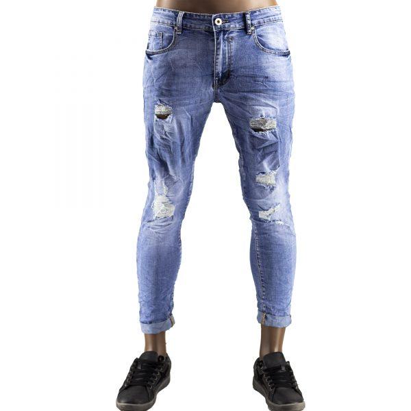 Pantaloni Jeans Uomo Slim Strappati Elasticizzati Strappi Gambe Stile Blu Chiaro 1