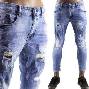 Pantaloni Jeans Uomo Slim Strappati Elasticizzati Strappi Gambe Stile Blu Chiaro