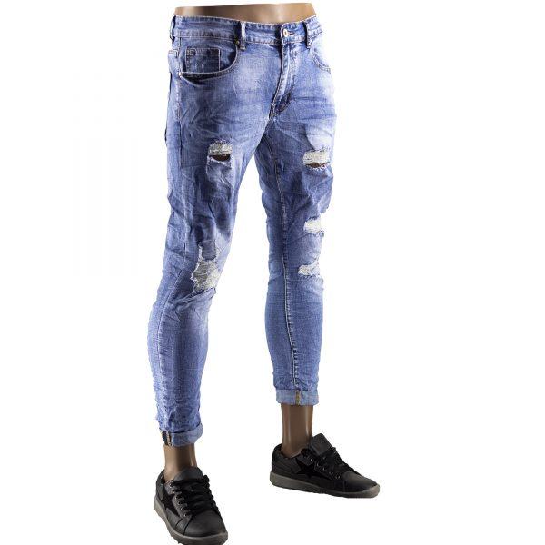Pantaloni Jeans Uomo Slim Strappati Elasticizzati Strappi Gambe Stile Blu Chiaro 2
