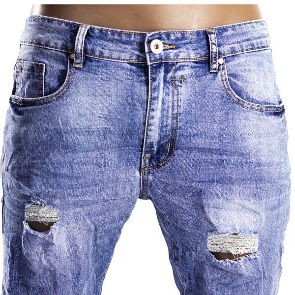 Pantaloni Jeans Uomo Slim Strappati Elasticizzati Strappi Gambe Stile Blu Chiaro 3