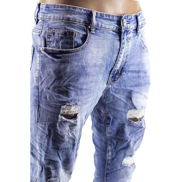 Pantaloni Jeans Uomo Slim Strappati Elasticizzati Strappi Gambe Stile Blu Chiaro 4