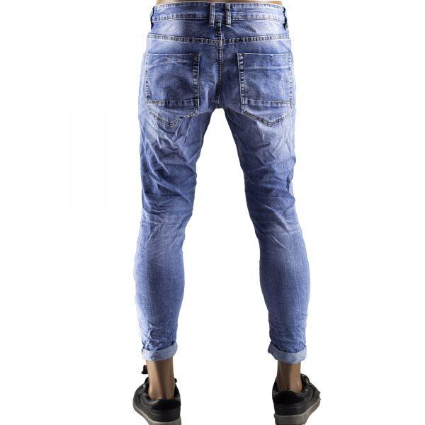 Pantaloni Jeans Uomo Slim Strappati Elasticizzati Strappi Gambe Stile Blu Chiaro 5