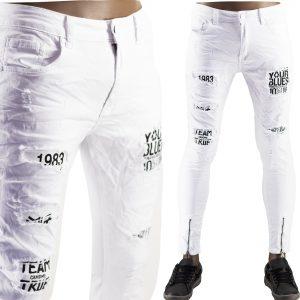 Pantaloni Jeans Bianchi Slim Uomo Particolari Strappati Elasticizzati Strappati Toppe Bianco 6