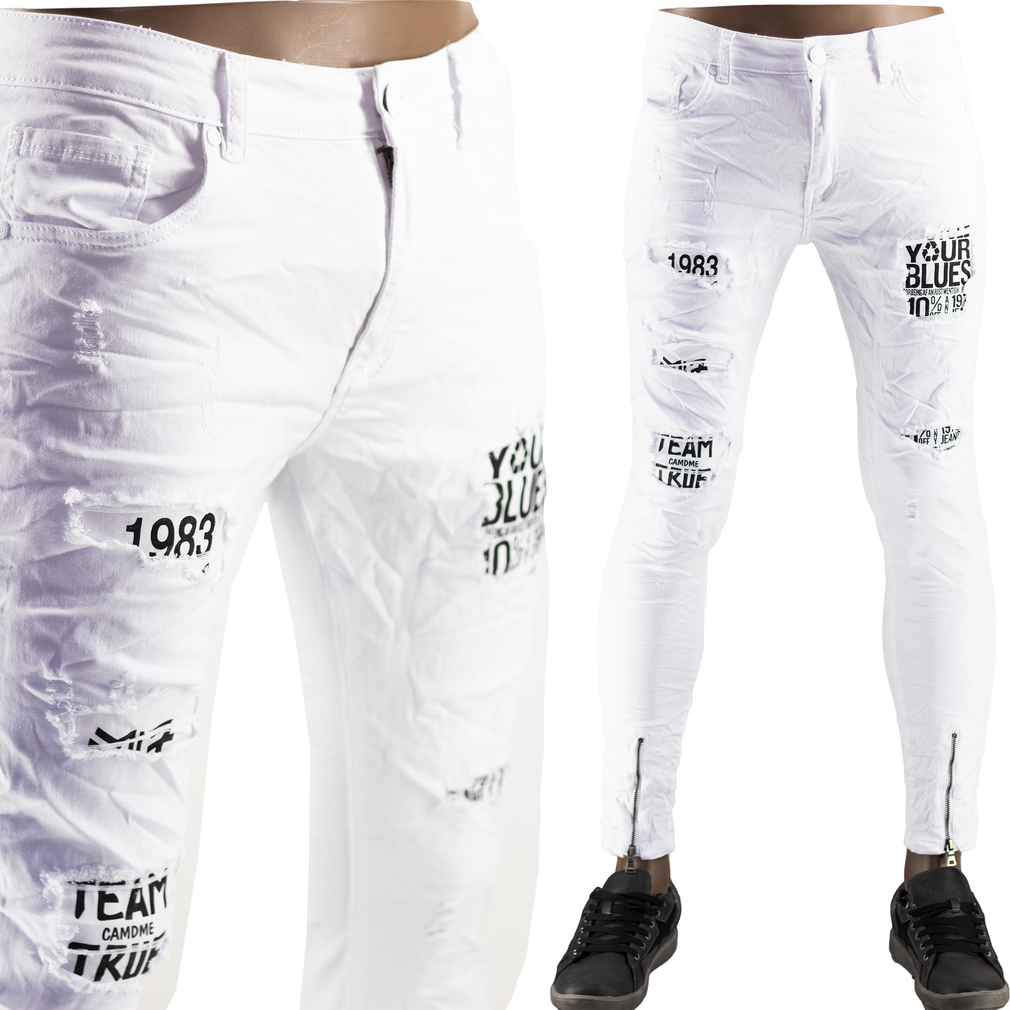 prezzo competitivo 444e8 ccf24 Pantaloni Jeans Bianchi Slim Uomo Particolari Strappati Elasticizzati  Strappati Toppe Bianco