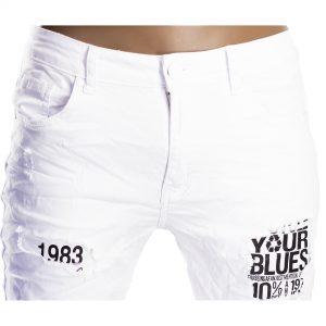 Pantaloni Jeans Bianchi Slim Uomo Particolari Strappati Elasticizzati Strappati Toppe Bianco 1