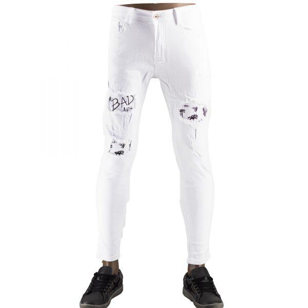 Pantaloni Particolari Jeans Elasticizzati Bianchi Slim Fit Uomo Strappati Toppe Bianco 1
