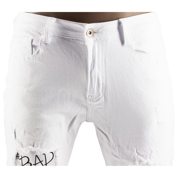 Pantaloni Particolari Jeans Elasticizzati Bianchi Slim Fit Uomo Strappati Toppe Bianco 2
