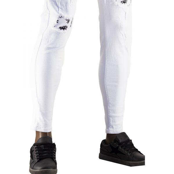 Pantaloni Particolari Jeans Elasticizzati Bianchi Slim Fit Uomo Strappati Toppe Bianco 4