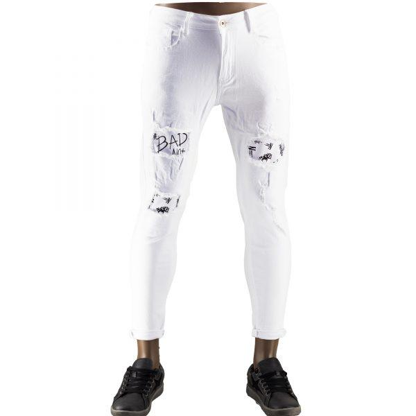 Pantaloni Particolari Jeans Elasticizzati Bianchi Slim Fit Uomo Strappati Toppe Bianco 6