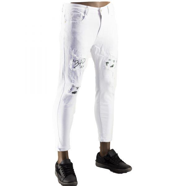 Pantaloni Particolari Jeans Elasticizzati Bianchi Slim Fit Uomo Strappati Toppe Bianco 7