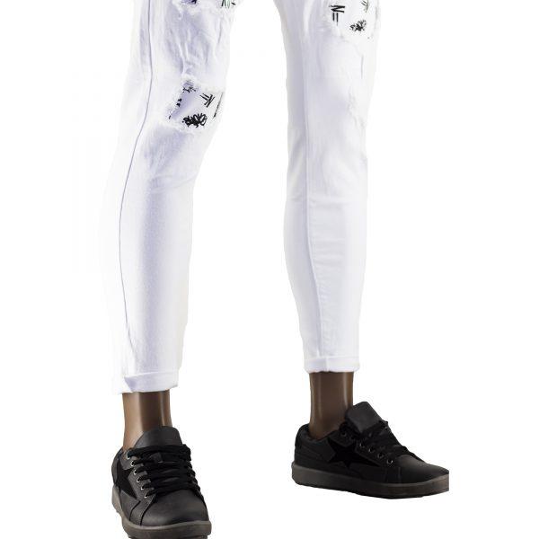 Pantaloni Particolari Jeans Elasticizzati Bianchi Slim Fit Uomo Strappati Toppe Bianco 8