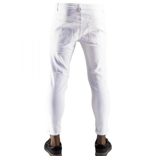 Pantaloni Particolari Jeans Elasticizzati Bianchi Slim Fit Uomo Strappati Toppe Bianco 9