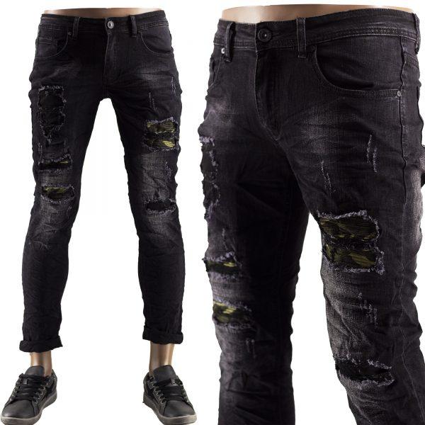 Jeans Slim Fit Strappati Pantaloni Uomo Elastici Strappi Skinny Aderenti Nero 1