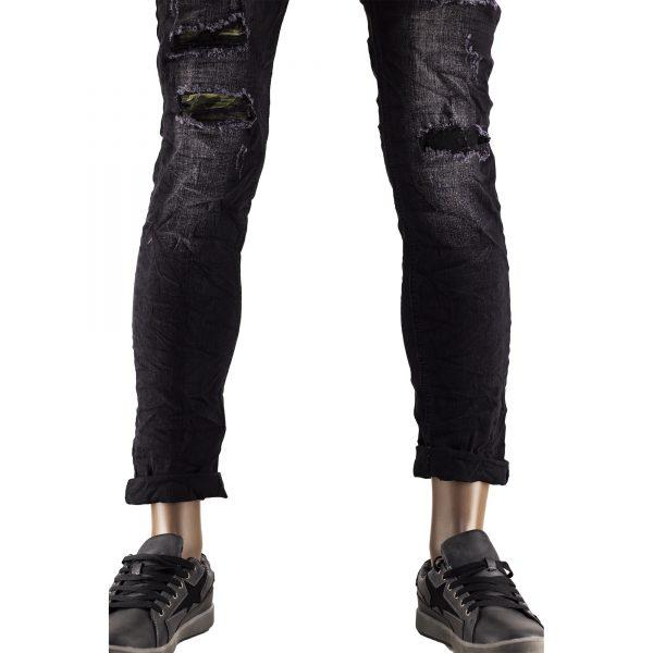 Jeans Slim Fit Strappati Pantaloni Uomo Elastici Strappi Skinny Aderenti Nero 3
