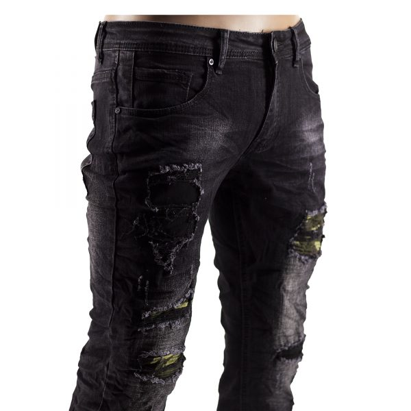 Jeans Slim Fit Strappati Pantaloni Uomo Elastici Strappi Skinny Aderenti Nero 5