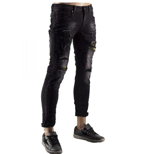 Jeans Slim Fit Strappati Pantaloni Uomo Elastici Strappi Skinny Aderenti Nero 6