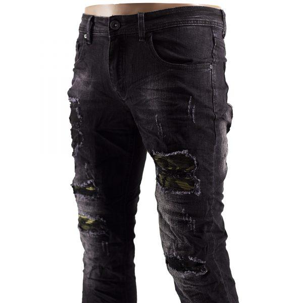 Jeans Slim Fit Strappati Pantaloni Uomo Elastici Strappi Skinny Aderenti Nero 7