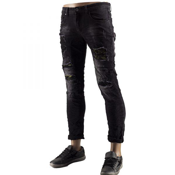 Jeans Slim Fit Strappati Pantaloni Uomo Elastici Strappi Skinny Aderenti Nero 8