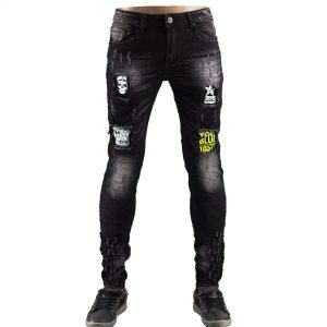 Jeans Uomo Elastici Slim Fit Strappati Pantaloni Strappi Skinny Aderenti Nero 1