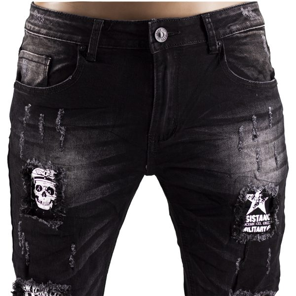 Jeans Uomo Elastici Slim Fit Strappati Pantaloni Strappi Skinny Aderenti Nero 2