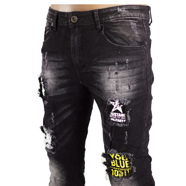 Jeans Uomo Elastici Slim Fit Strappati Pantaloni Strappi Skinny Aderenti Nero 3