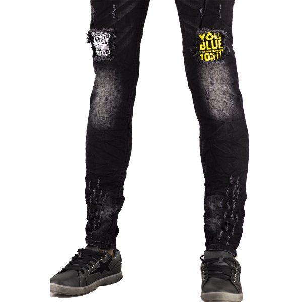 Jeans Uomo Elastici Slim Fit Strappati Pantaloni Strappi Skinny Aderenti Nero 4