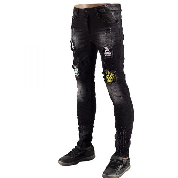 Jeans Uomo Elastici Slim Fit Strappati Pantaloni Strappi Skinny Aderenti Nero 5