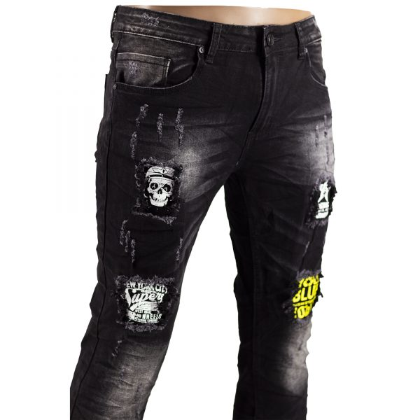 Jeans Uomo Elastici Slim Fit Strappati Pantaloni Strappi Skinny Aderenti Nero 6