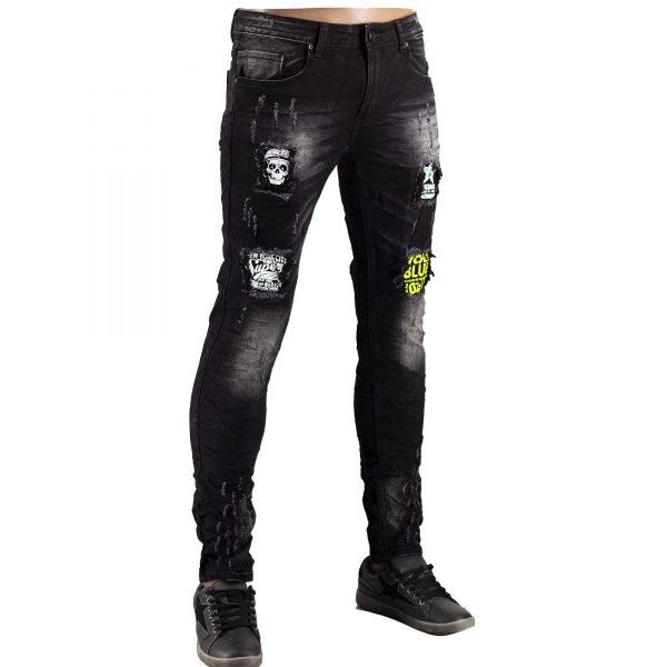 Jeans Uomo Elastici Slim Fit Strappati Pantaloni Strappi Skinny Aderenti Nero 7