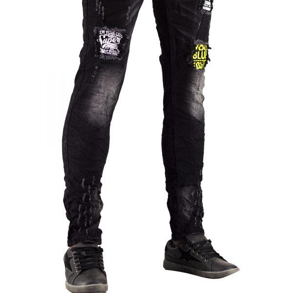 Jeans Uomo Elastici Slim Fit Strappati Pantaloni Strappi Skinny Aderenti Nero 8