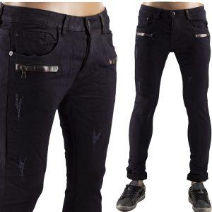 Pantaloni Uomo Jeans Strappati Slim Fit Elastici Strappi Skinny Aderenti Nero