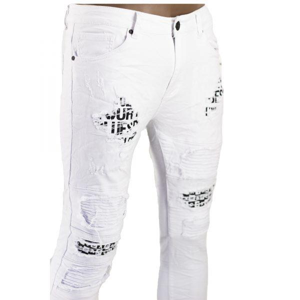 Jeans Elasticizzati Particolari Pantaloni Bianchi Slim Fit Uomo Strappati Toppe Bianco 4