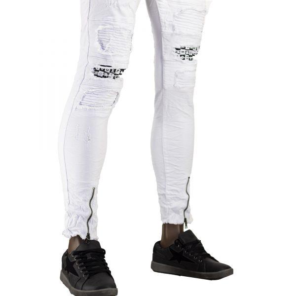 Jeans Elasticizzati Particolari Pantaloni Bianchi Slim Fit Uomo Strappati Toppe Bianco 5