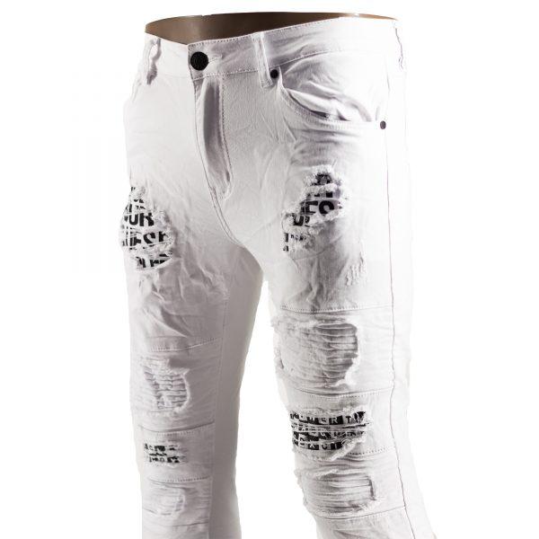 Jeans Elasticizzati Particolari Pantaloni Bianchi Slim Fit Uomo Strappati Toppe Bianco 6