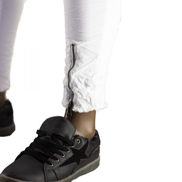 Jeans Elasticizzati Particolari Pantaloni Bianchi Slim Fit Uomo Strappati Toppe Bianco 7