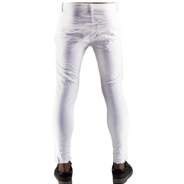 Jeans Elasticizzati Particolari Pantaloni Bianchi Slim Fit Uomo Strappati Toppe Bianco 8