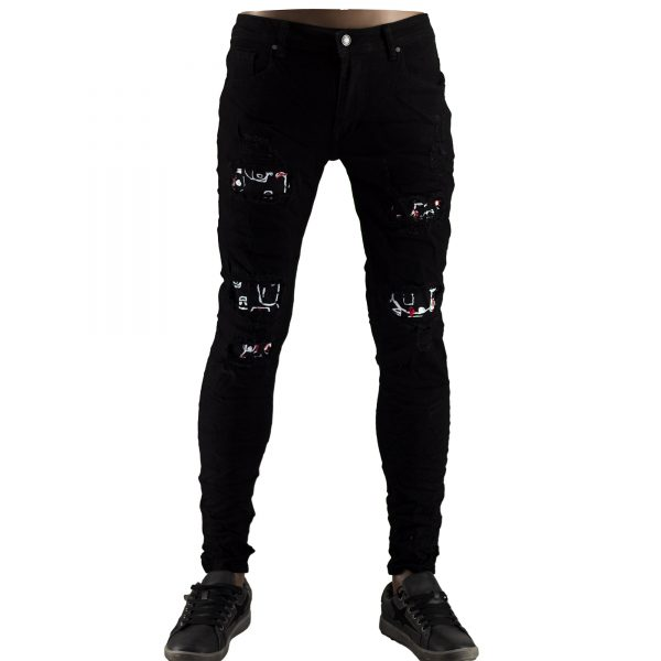 Pantaloni Elastici Uomo Jeans Slim Fit Strappati Skinny Aderenti Strappi Nero 1