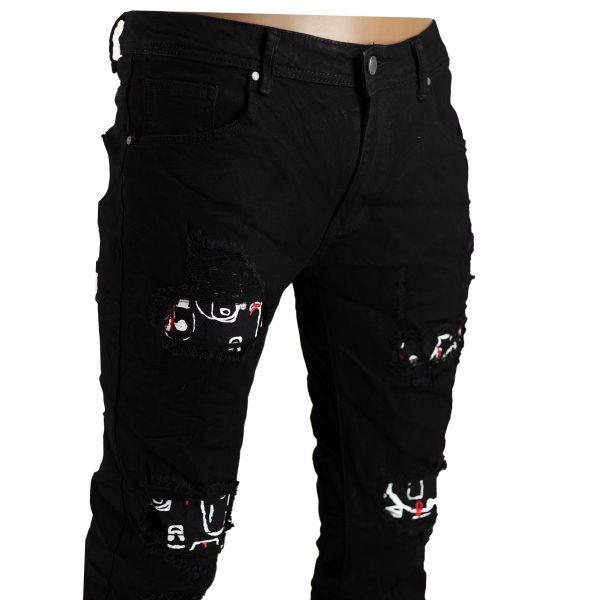 Pantaloni Elastici Uomo Jeans Slim Fit Strappati Skinny Aderenti Strappi Nero 3