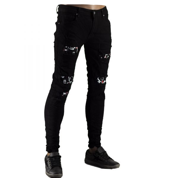 Pantaloni Elastici Uomo Jeans Slim Fit Strappati Skinny Aderenti Strappi Nero 4