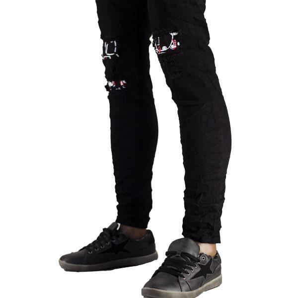 Pantaloni Elastici Uomo Jeans Slim Fit Strappati Skinny Aderenti Strappi Nero 5