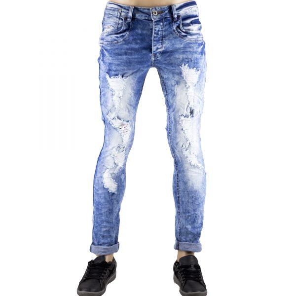 Pantaloni Uomo Jeans SlimFit Strappati Elasticizzati Strappi su Gambe Blu Chiaro 1