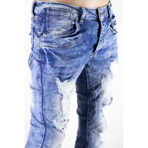 Pantaloni Uomo Jeans SlimFit Strappati Elasticizzati Strappi su Gambe Blu Chiaro 2