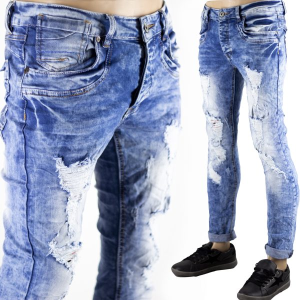 Pantaloni Uomo Jeans SlimFit Strappati Elasticizzati Strappi su Gambe Blu Chiaro