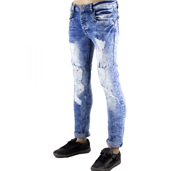Pantaloni Uomo Jeans SlimFit Strappati Elasticizzati Strappi su Gambe Blu Chiaro 3