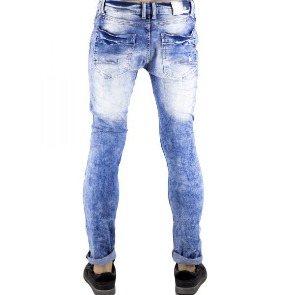 Pantaloni Uomo Jeans SlimFit Strappati Elasticizzati Strappi su Gambe Blu Chiaro 4