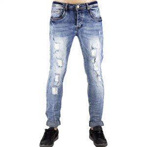 Dettagli su Pantaloni Slim Fit Jeans Morbido Strappi Gambe Elasticizzati Sfumato Blu Chiaro 1