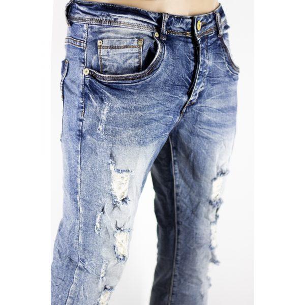 Dettagli su Pantaloni Slim Fit Jeans Morbido Strappi Gambe Elasticizzati Sfumato Blu Chiaro 2