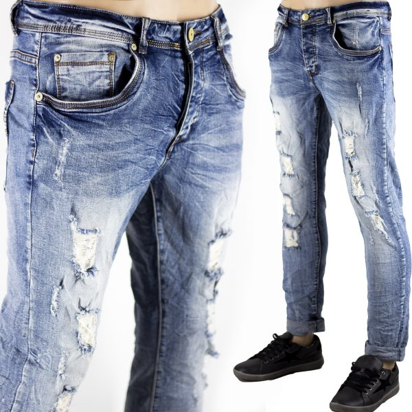 Dettagli su Pantaloni Slim Fit Jeans Morbido Strappi Gambe Elasticizzati Sfumato Blu Chiaro