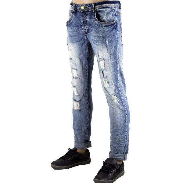 Dettagli su Pantaloni Slim Fit Jeans Morbido Strappi Gambe Elasticizzati Sfumato Blu Chiaro 3