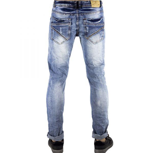 Dettagli su Pantaloni Slim Fit Jeans Morbido Strappi Gambe Elasticizzati Sfumato Blu Chiaro 4